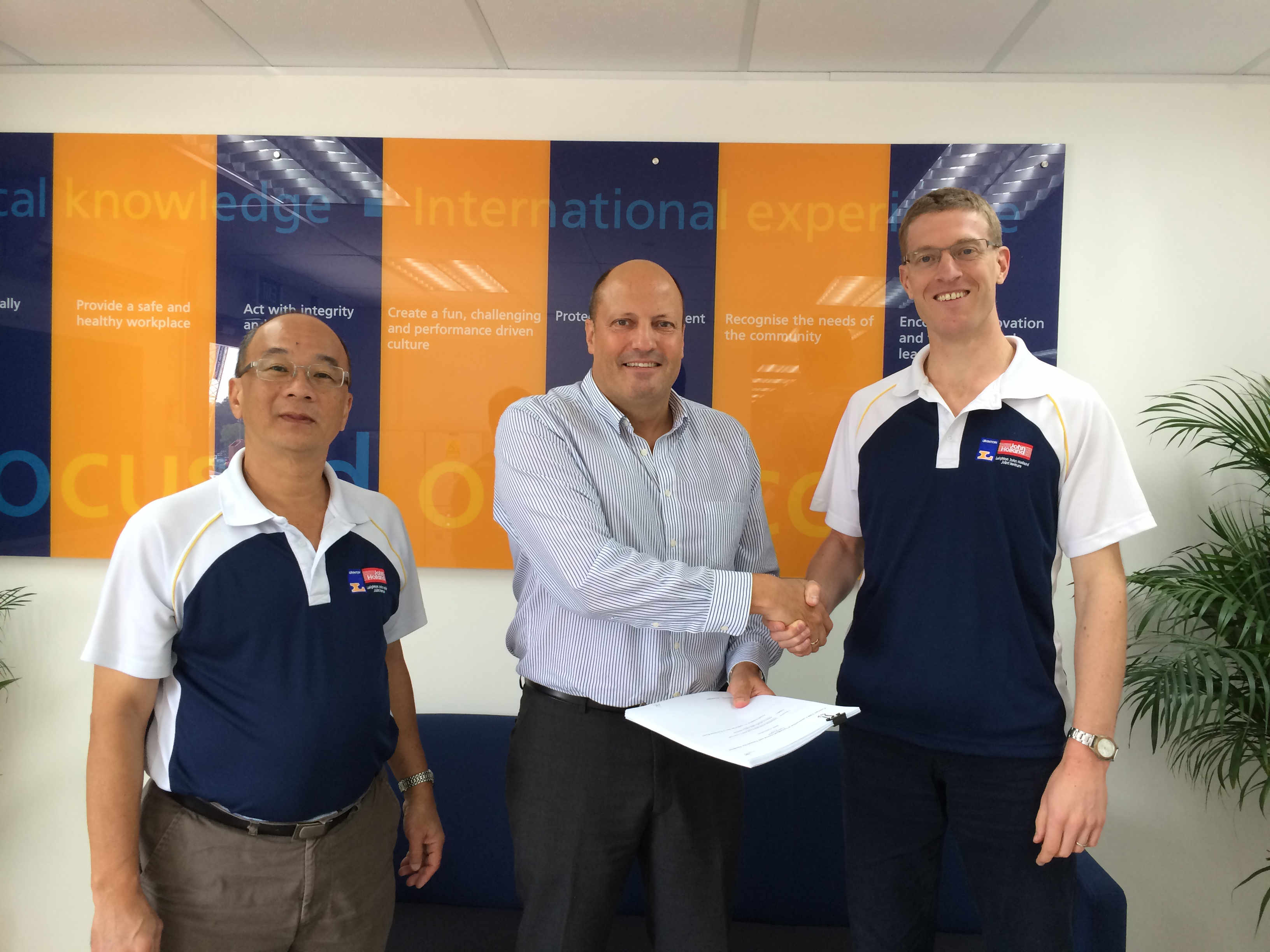 Adam Beeby with Kheng Guan Wee – Commercial Manager & Andreas Mindt – Tunnel Manager both from Leighton John Holland Joint Venture