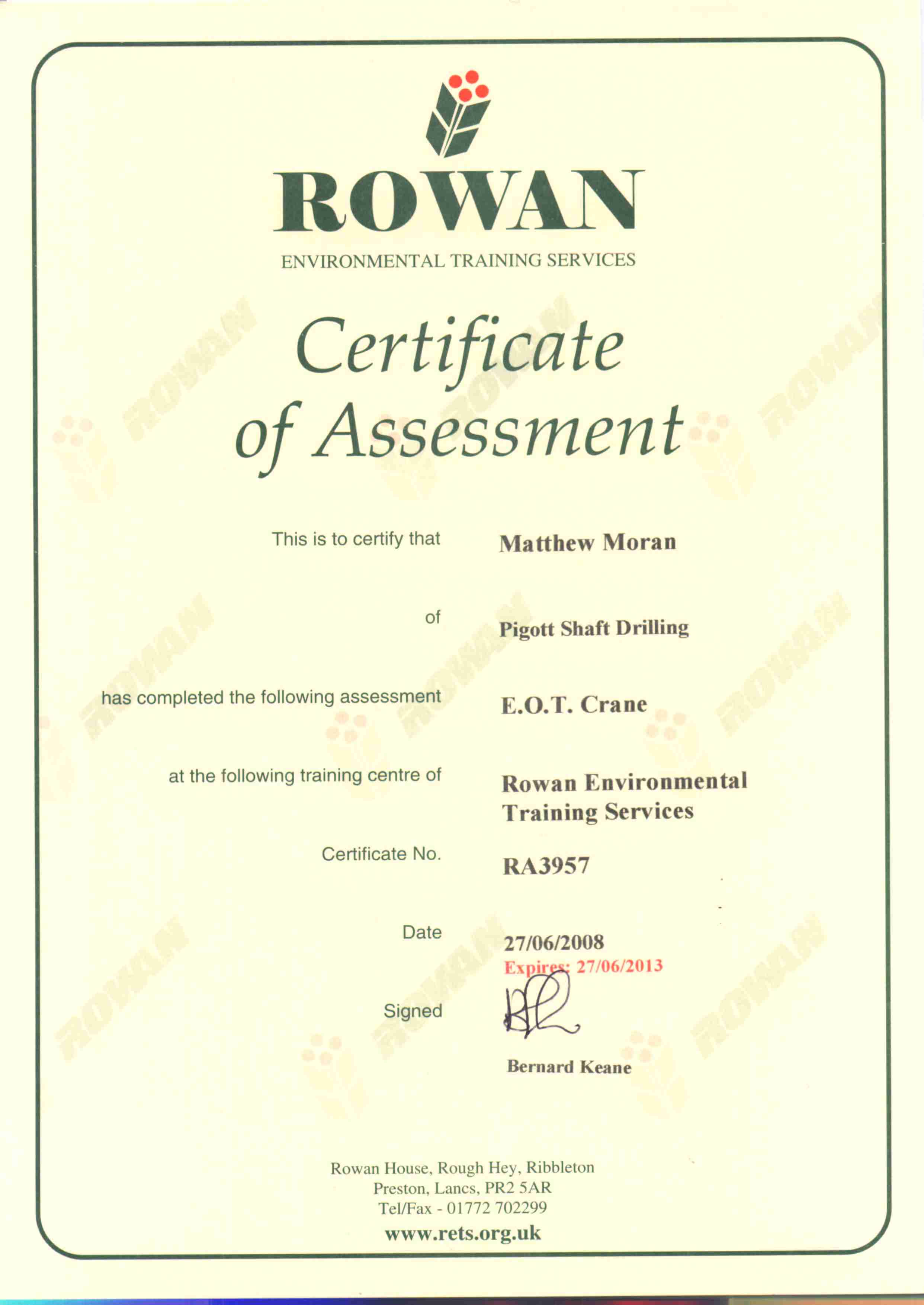 External Training Certificate